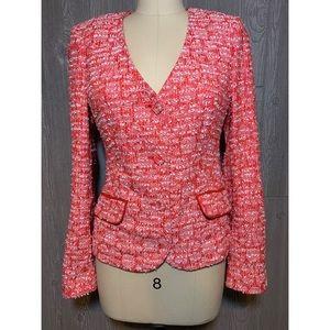 Rachel Roy Coral & White Tweed Jacket 8 NWT $495
